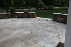 Travertine Terrace (Acadia Landscape and Hardscape) Tags: travertine seatwall romanblend