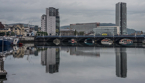 Belfast: The Boat High Rise Building (Left Of Photo) And The The Obel Tower