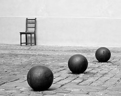 the chair (Thomas Leth-Olsen) Tags: bw chair minimal cobblestones spheres antibes locations urbanabstract bestminimalshot