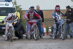 Two Stags and a Spitfire (Richard Amor Allan) Tags: bike mud bikes cycle stokeontrent rider speedway cycles riders motorcyles stokepotters loomerroad scunthorpestags stokespitfires