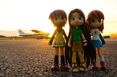 365 Toy Project, 113/365: At the Airport (WhyDolls) Tags: sunset plane private toy airport doll small figure pinkyst pinkystreet 365toyproject