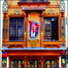 Old Alsacian Tavern (Detail on 1st Floor) (Pifou 2010) Tags: city light sculpture paris france building art window colors town couleurs details lumiere tavern walls multicolors fentre ville murs immeuble 2012 hypothetical taverne vividimagination alsacienne alsacian shockofthenew sharingart awardtree pifou2010 oldalsaciantaverndetailon1stfloor