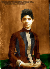 Woman in dress with embroidered front and cuffs (Bill Sargent) Tags: portrait people woman art history female digital photoshop studio photography photo florida antique capecod photograph cape historical cod sargent coldbrook coldbrookstudio