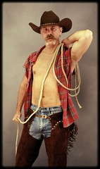 Ropin' Cowboy (Cowboy Tommy) Tags: portrait hairy hot sexy face pits leather fur model cowboy nipple muscle blueeyes handsome stomach moustache jeans western loveline stache plaid levis chaps pinup rugged bulge armpits pec
