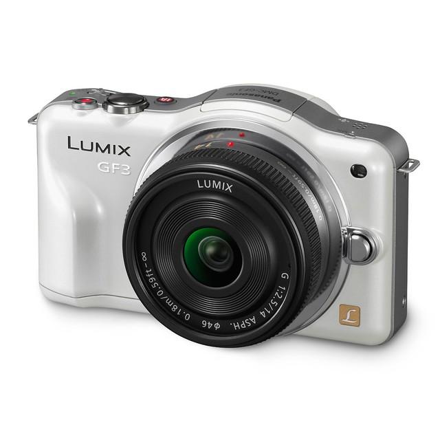"""松下 Panasonic Lumix DMC-GF3CK 白色款单电相机(配14mm定焦""""饼干""""镜头)$369"""