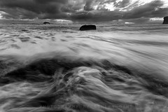 The Cauldron (Ashley Daws) Tags: ocean new sunset sea sky bw white storm black water clouds bay long exposure zealand nz maori muriwai