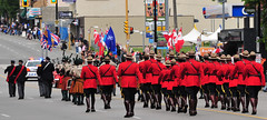 Band and RCMP lead Parade (D70) Tags: street blue red brown white canada hat yellow scarlet belt day bc with sam boots leg north band hats felt off flags canadian parade riding strip midnight burnaby rcmp hastings campaign lead serge browne lanyard sidearm oxblood tunic breeches