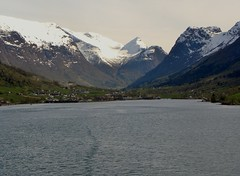 Olden from the ship (Eddie Crutchley) Tags: mountain snow norway fjord olden innvikfjorden