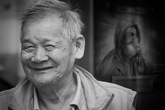 right type of mood (White_V) Tags: street door man london canon graffiti chinese wb elderly 2012 smilling whiteandblack happymood respirator