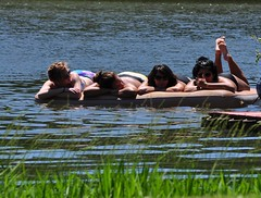 "Girls Relaxing (""On the Rox"") Tags: waterskiing watersports tubing slalom lakemartin slalomcourse"