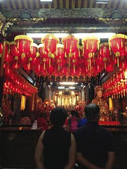 Shilin Night Market - Ci Cheng Temple (zzhing) Tags: red religious temple lights taiwan rows lanterns taipei shilin