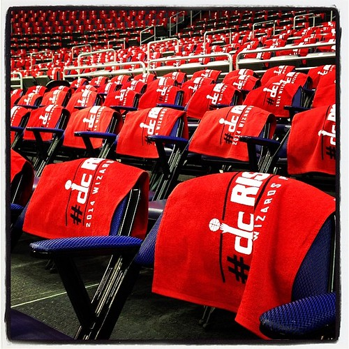 Towels, not t-shirts, today. #Wizards-#Bulls, Game 4.