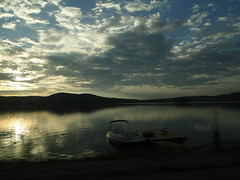 Canadian lake in the evening sun (leasta) Tags: road sunset cloud lake holiday ontario canada boat peace roadtrip serenity