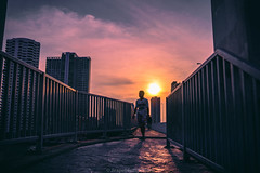 Sundown (akimesto) Tags: life street city bridge blue light sunset red sky people urban colour building art skyline architecture night clouds zeiss photoshop wow thailand photo twilight colorful asia long exposure flickr artist cityscape photographer nightscape outdoor bangkok sony air landmark structure infrastructure land a7 skycraper taksin satorn