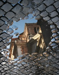 Puddle reflection (ebbtidearts) Tags: street italy buildings puddle refelction