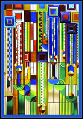 Stained glass design (LotusMoon Photography) Tags: taliesin abstract geometric glass design colorful pattern bright framed border stainedglass franklloydwright annasheradon
