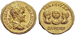 Gold Aureus of Septimius Severus, Roman Emperor  (193-212) with Julia Domna, young Caracalla and young Geta on the reverse (mike catalonian) Tags: gold coin emperor geta aureus septimiusseverus caracalla 2ndcenturyad juliadomna 3rdcenturyad