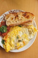 Veggie Omelette with Crispy Toast and Homemade Salsa. (LisaDiazPhotos) Tags: food cheese breakfast jack pepper sweet toast crispy potato homemade eggs veggie zucchini salsa cilantro omelette cibatta lisadiazphotos