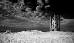 Winterfell (TS446Photo) Tags: blackandwhite bw cloud white mountain black tower castle monochrome grass contrast mono evening blackwhite nikon flickr glow noiretblanc dusk hill natur d70s broadway cotswolds national infrared converted serene