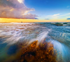Let's Get Wet (nelza jamal) Tags: ocean trip sunset motion blur get colour beach wet coral photo jumping nikon lab exposure angle lets wide wave tokina borneo tips bora sabah jamal phototrip tanjung ombak simpang vertorama nelza multiplee mnegayau