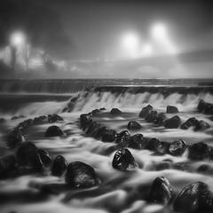night fog (StephenCairns) Tags: longexposure bridge blackandwhite bw japan fog night river lights rocks falls waterfalls 日本 岐阜 gifu 石 橋 夜 川 motosu 白黒 霧 岐阜県 30mmsigmaf14 nightfog canon50d stephencairns 50dcanon 本巣市 根尾川
