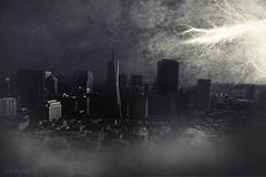 I just want to watch the world... (Subversive Photography) Tags: city clouds photomanipulation photoshop moody cityscape digitalart apocalypse atmosphere textures sphere lightning watcher endofdays danielbarter