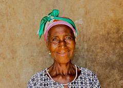 Green headscarf, Woadze, Volta Region, Ghana (MJ Reilly) Tags: old madame portrait woman black green lady nikon sister headscarf elderly ghana volta d90 ghanaian woadze