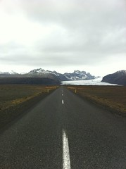 Glacier Ahead (alykat) Tags: road vanishingpoint iceland glacier iphone skaftafell skaftafellnationalpark skeiarrsandur iphone4