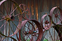 Wheels (ArtApril) Tags: june washington oldbarns uniontown palouse phototrips wheelbarn dahmenbarn wheelsshapes