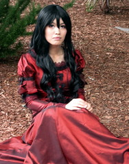 Beautiful Lady in Crimson Dress- San Jose Fanime Con 2012 (supertaylorguy) Tags: costumes woman anime beautiful crimson lady costume san long dress cosplay character jose sanjose characters fanime 2012 darkred fanimecon