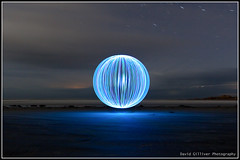 Beach Ball (Pikebubbles) Tags: longexposure blue light lightpainting beach night ball dark circle lights spin ad led leds guernsey vazon davidgilliver