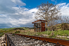 Fermata Pisciolo (Photos On The Road) Tags: old railroad italy abandoned metal train rust europa closed track outdoor empty transport platform rail railway nobody line stop transportation rails lonely ferrovia binari fermata orizzontale pisciolo