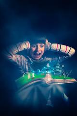 never open a haunted book! (Fon-tina) Tags: girl fog canon reading book child magic fear libro haunted 7d horror scar glint bimba bambina paura terrore stregato canoneos7d