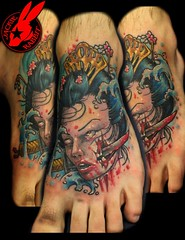 geisha head tattoo by Jackie Rabbit (Jackie rabbit Tattoos) Tags: new city school tattoo asian dead japanese star virginia cool blood colorful head good zombie awesome traditional great creepy roanoke va geisha sword bloody oriental severed daggar jackierabbit