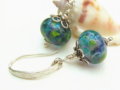 Amazonia - Sold (Beguiled By The Bead) Tags: jewellery pearl earrings lampwork sterlingsilver goldfilled