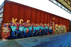 Muzik, Reken (nunya...nunyabusiness) Tags: art train graffiti paint graf tracks spraypaint boxcar muzik freight kcs reken