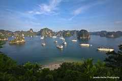 Halong Bay (NettyA) Tags: travel seascape beach clouds canon landscape boats island islands bay asia south lookout east vietnam limestone halong junks karsts titop eos550d