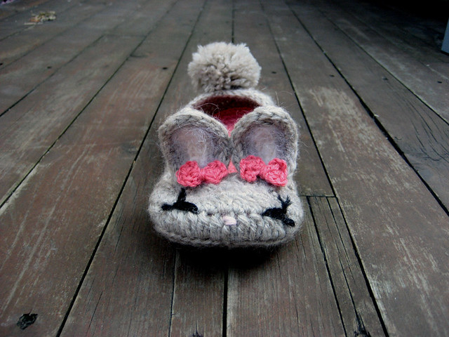 Because Everyone Needs Bunny Slippers knit by Dayana