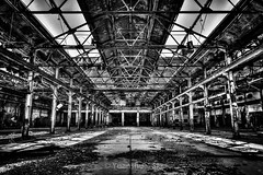 Open Space (Yuanshuai(TIM) Si) Tags: old light blackandwhite window lens photography downtown factory angle pentax si cleveland perspective skylight east symetry openspace limit  hdr k5 forrestcity   15mmf4 e55st yuanshuai  dashuai