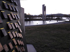 The Carillon from the Police Memorial Canberra (spelio) Tags: act australia canberra lakeburleygriffin sunset evening lake water lowlight handheld june 2012 police memorial plaque good fave