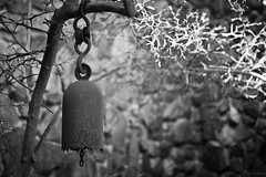 Tibet Bell (JVierno77) Tags: nyc light blackandwhite bw ny newyork blur tree museum canon rust dof bell bokeh peaceful 50mm14 tibet rusted weathered statenisland fixture 60d