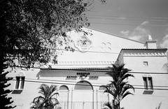 Greater AME Bethel Church  Historic Overtown (Phillip Pessar) Tags: camera bw white black history film analog 35mm store florida zoom kodak miami african infinity tx trix olympus x historic thrift american 400 tri 70 overtown