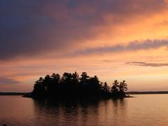 Island in Pastel (Hannah_Nieman) Tags: pink blue sunset sky ontario nature water silhouette landscape island pastel katimavik stjosephsisland