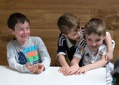 8 Year Old Boys (john atte kiln) Tags: boy boys laughing children fun child friendship action teeth fingers 8 tshirt 8yearsold enjoyment havingfun missingteeth footballshirts armovershoulder