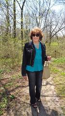 Strolling Through The Woods (Laurette Victoria) Tags: woman sunglasses woods pants auburn jeans jacket purse milwaukee lakepark laurette