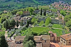 First settlement and first church, about IX sec AD (Emanuele Barcali) Tags: vacation sky italy sun black green tower love clouds countryside photo san artist view gimignano weekend withe sunny medieval hills tuscany sangimignano castello borgo castel torri blackwithe togheter