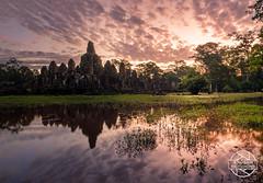 Bayon Sunrise (jbrambaud) Tags: clouds sunrise temple nikon cambodia siemreap angkor reflexion mystic bayon nikond3s