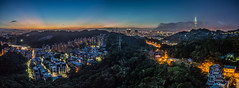 Pano View of Taipei  (Sharleen Chao) Tags: longexposure sunset urban horizontal skyline night canon landscape cityscape cloudy taiwan nopeople 101  taipei taipei101  afterglow 101 capitalcity 1635mm anticrepuscularrays   cloudfire canoneos5dmarkiii
