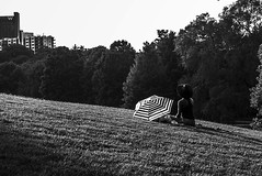 End of day meditation (everyday_photographer) Tags: park trees atlanta sunset blackandwhite girl grass sitting calming meditation piedmontpark goldenhour endofday beinthepark photoinblackandwhite meditationoasis