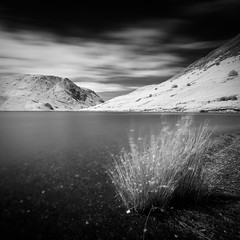 Buttermere - Square (aveyardphotography) Tags: buttermere lake water ir infrared black white mono monochrome grass mountains hills clouds long exposure trees bright daylight
